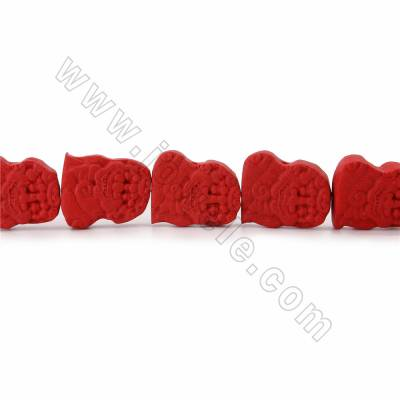 Cinnabar Carved Beads Strands, Sitting Lion, Dark Red, Size 24x29x10mm, Hole 1mm, 14beads/strand