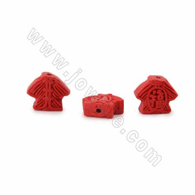 Cinnabar Carved Beads Strands, Coat, Dark Red, Size 18x7x15mm, Hole 1mm, 26beads/strand
