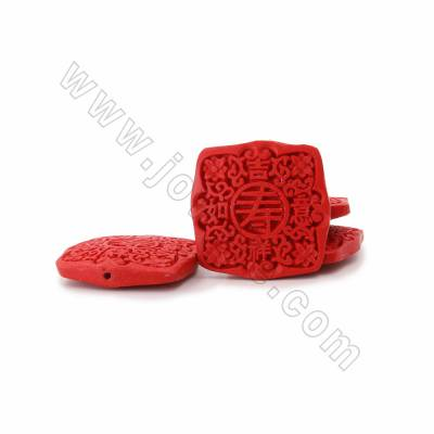 "Cinnabar Carved Chinese Character ""寿"" Beads Strands, Square, Red, Size 42x9x42mm, Hole 1mm, 10beads/strand"
