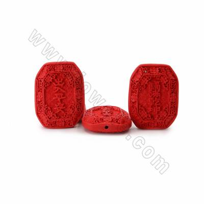 Cinnabar Carved Chinese Character Beads Strands, Polygon, Red, Size 43x14x58mm, Hole 2mm, 7beads/strand