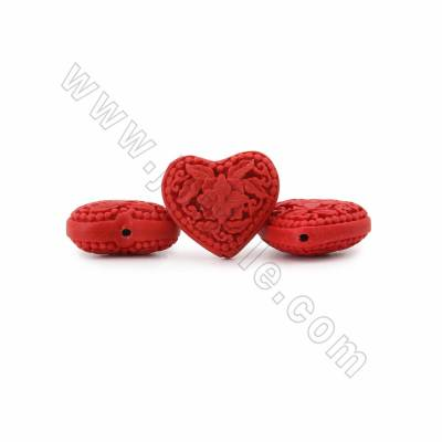 Cinnabar Carved Beads Strands, Heart with Flower Pattern, Dark Red, Size 28x14x24mm, Hole 1mm, 17beads/strand