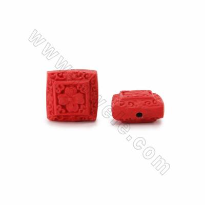 Cinnabar Carved Beads Strands, Square, Red, Size 20x11x20mm, Hole 1mm, 20beads/strand