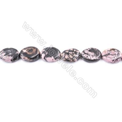 Black Stripes Rhodochrosite Stone Beads Strand  Twisted Flat Oval  Size 13x18mm   hole 1mm   about 22 beads/strand 15~16''