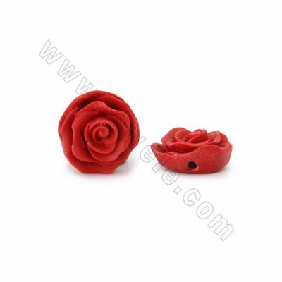 Cinnabar Carved Beads Strands, Rose, Dark Red, Size 17x9x17mm, Hole 1mm, 25beads/strand