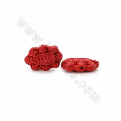 Cinnabar Carved Beads Strands, Polygon, Dark Red, Size 31x9x21mm, Hole 1mm, 19beads/strand