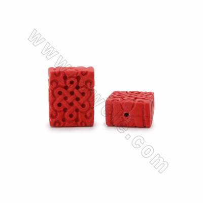 Cinnabar Carved Chinese Knot Beads Strands, Rectangle, Dark Red, Size 22x14x28mm, Hole 1mm, 14beads/strand