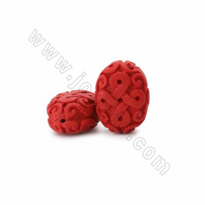 Cinnabar Carved Chinese Knot Beads Strands, Oval, Dark Red, Size 26x18x34mm, Hole 1mm, 11beads/strand