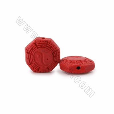 Cinnabar Carved Beads Strands, Gossip/Yin Yang, Dark Red, Size 21x9x21mm, Hole 1mm, 18beads/strand