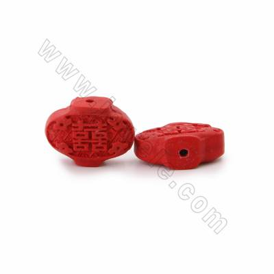 Cinnabar Carved Beads Strands, Lantern, Dark Red, Size 23x6x18mm, Hole 1mm, 21beads/strand
