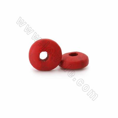Cinnabar Carved Beads Strands, Circle, Dark Red, Size 16x8mm, Hole 4mm, 50beads/strand