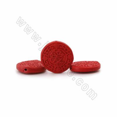 Cinnabar Carved Chinese Character Beads Strands, Flat Round, Dark Red, Size 41x8mm, Hole 1mm, 10beads/strand