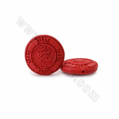 Cinnabar Carved Chinese Character Beads Strands, Flat Round, Dark Red, Size 25x7mm, Hole 1mm, 13beads/strand