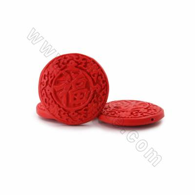 "Cinnabar Carved Chinese Character ""福"" Beads Strands, Flat Round, Red, Size 50x11mm, Hole 1mm, 9beads/strand"