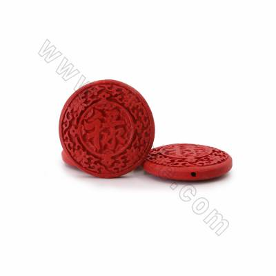 "Cinnabar Carved Chinese Character ""禄"" Beads Strands, Flat Round, Dark Red, Size 50x11mm, Hole 1mm, 8beads/strand"