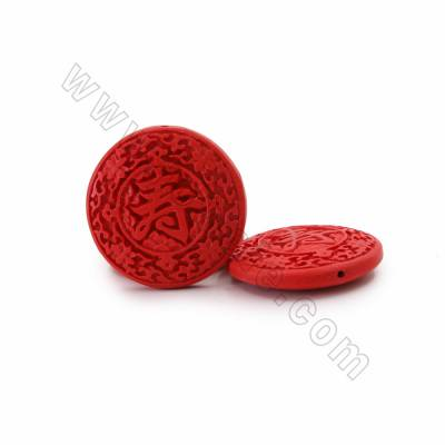 "Cinnabar Carved Chinese Character ""寿"" Beads Strands, Flat Round, Red, Size 47x11mm, Hole 1mm, 9beads/strand"