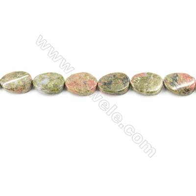 Natural Unakite Beads Strand  Twisted Oval  Size 13x18mm  hole 1mm  about 13x18 beads/strand 15~16""