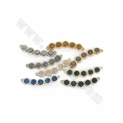 Electroplated Druzy Agate Connectors, with Brass findings, Hole 1.5mm, Size 8x30mm, 6pcs/pack, (Golden, Platinum)Plated