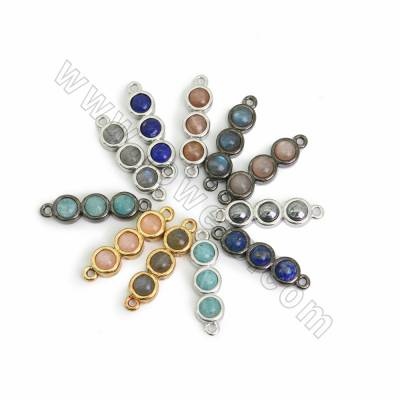 Natural Gemstone Connectors, with Brass findings, Hole 1.5mm, Size 6x18mm, 10pcs/pack (Golden, White gold, Gun Black)Plated