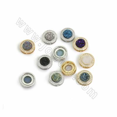Electroplated Natural Druzy Agate Links Charms, with CZ Brass findings, Round, Hole 1x5.5mm, Size 13mm, 9pcs/pack