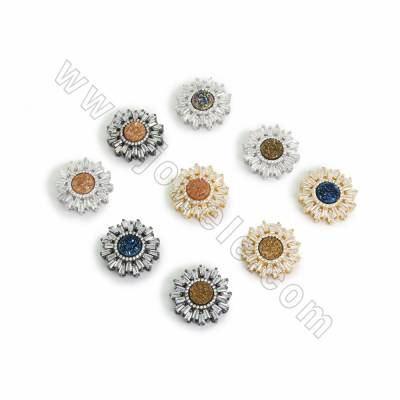 Electroplated Natural Druzy Agate Links Charms, with CZ Brass findings, Sunflower, Hole 1.9x2mm, Size 22mm, 6pcs/pack