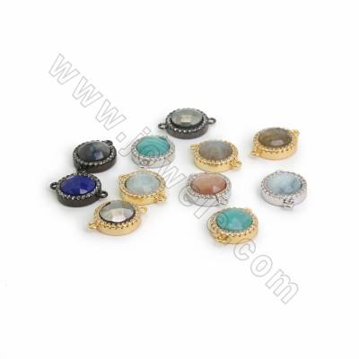 Natural Faceted Gemstone Connectors, with CZ Brass findings, Round, Hole 1.2mm, Size 11mm, 10pcs/pack