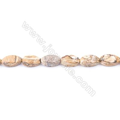 Natural Picture Jasper Beads Strand  Twisted Oval  Size 8x16mm  hole 1mm  25 beads/strand 15~16""