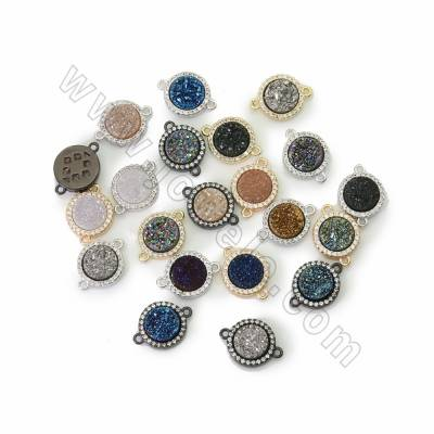 Electroplated Natural Druzy Agate Connectors, with CZ Brass findings, Round, Hole 1.2mm, Size 11mm, 10pcs/pack
