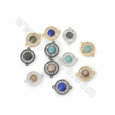 Natural Faceted Gemstone Connectors, with CZ Brass findings, Round, Hole 1.8mm, Size 16mm, 4pcs/pack