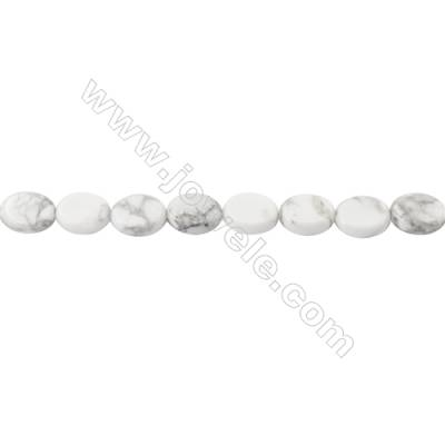 White Howlite Beads Strand  Oval Size 8x10mm  hole 1mm  about 40 beads/strand 15~16''