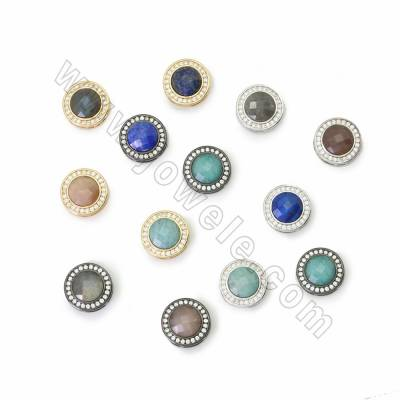 Natural Faceted Gemstone Charms, with CZ Brass findings, Round, Hole 1x5.5mm, Size 13mm, 4pcs/pack