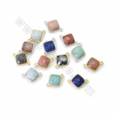 Natural Faceted Gemstone Charms, with Brass findings, Rhombus, Hole 1.4mm, Size 11.5mm, 8pcs/pack