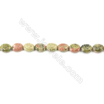 Natural Unakite Beads Strand  Oval  Size 8x10mm  hole 1mm  about 42 beads/strand 15~16""
