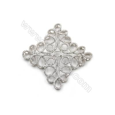925 Sterling silver platinum plated zircon pendant, 39x39mm, x 2pcs, tray 6x5mm