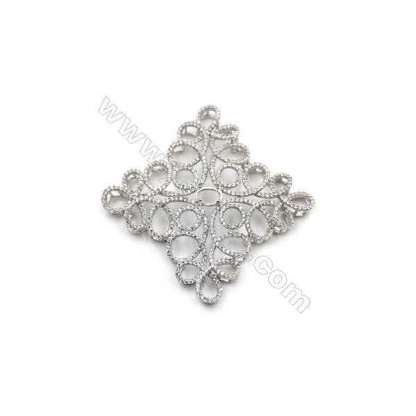 925 Sterling silver platinum plated zircon pendant, 39x39mm, x 2pcs, tray 6x5mm