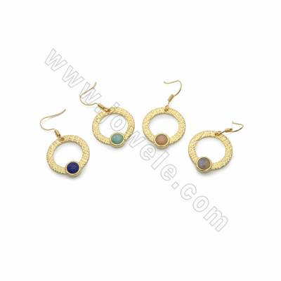 Brass with Natural Gemstone Dangle Earrings, Circle, Gold, Pendant: 23x25mm, Length 40mm, Pin 0.6mm, 10pcs/pack