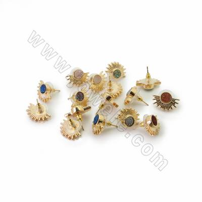 Natural Druzy Agate with Brass Stud Earrings, Sector, Golden, Size 13x18mm, Pin 0.7mm, 10pcs/pack