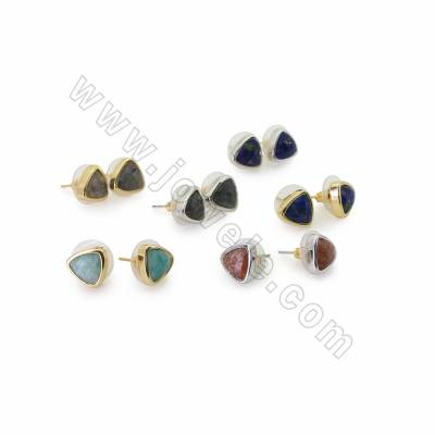 Natural Faceted Gemstone Stud Earrings, with Brass findings, Size 10x10mm, Pin 0.7mm, 10pcs/pack, (Golden, White gold)Plated