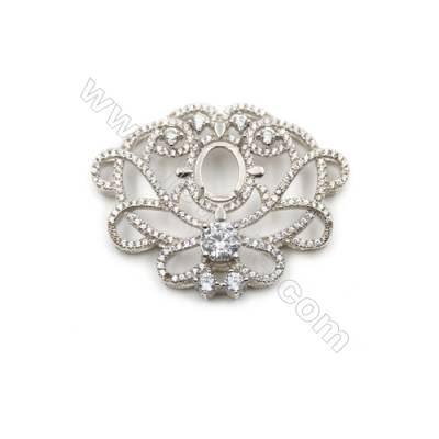 Popular designed 925 sterling silver platinum plated zircon pendant, 40x31mm, x 2pcs, tray 10x8mm