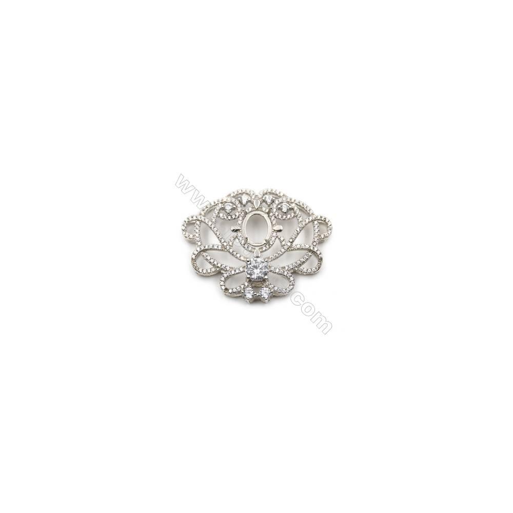 Popular designed 925 sterling silver platinum platedzircon pendant, 40x31mm, x 2pcs, tray 10x8mm
