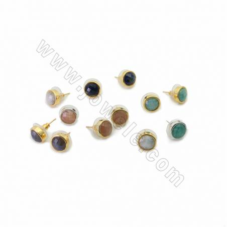 Natural Faceted Gemstone Stud Earrings, with Brass findings, Round, Size 10mm, Pin 0.7mm, 10pcs/pack