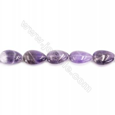 Natural Amethyst Beads Strand  Flat Teardrop  Size 13x18mm  hole 1mm  about 23 beads/strand 15~16""