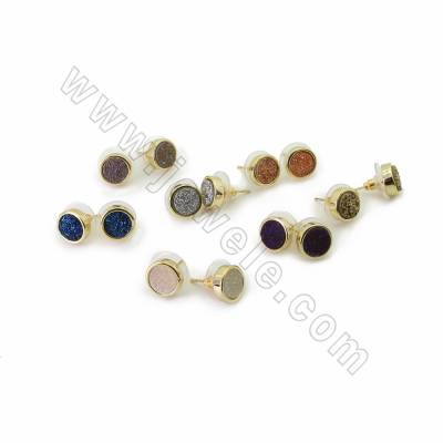 Natural Druzy Agate Stud Earrings, with Golden Plated Brass findings, Round, Size 10mm, Pin 0.7mm, 10pcs/pack