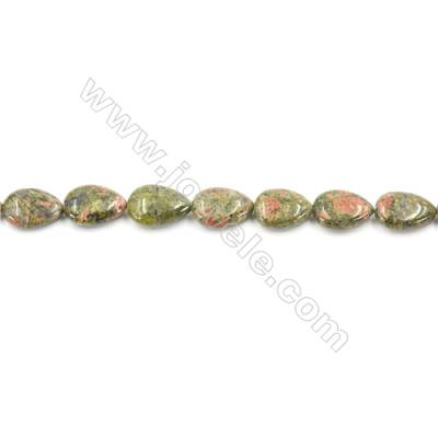 Natural Unakite Beads Strand  Flat Teardrop  Size 13x18mm  hole 1mm  about 22 beads/strand 15~16""