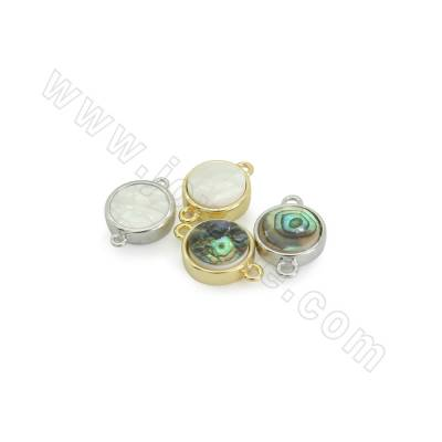 Mother-of-pearl Shell Links Connectors, with Brass findings, Round, Hole 1.7mm, Size 12mm, 10pcs/pack