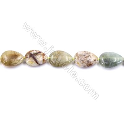 Natural Flower Jade Beads Strand  Flat Teardrop  Size 13x18mm  hole 1mm  22 beads/strand 15~16""