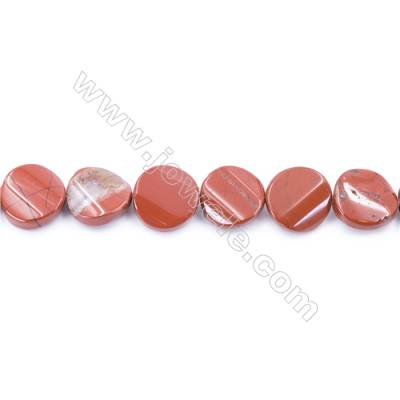 Natural Red Jasper Beads Strand  Twisted Flat Round  Diameter 16mm  hole 1mm  about 24 beads/strand 15~16''