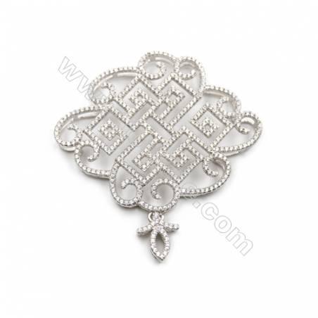 925 sterling silver platinum plated CZ pendant, 41x42 mm, x 2pcs