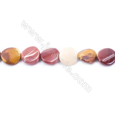 Natural Mookaite Beads Strand  Twisted Flat Round  Diameter 16mm  hole 1mm  about 24 beads/strand 15~16''