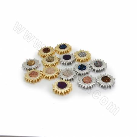 Electroplated Natural Druzy Agate Charms, with CZ Brass findings, Sun, Hole 1.5x2mm, Size 19mm, 8pcs/pack