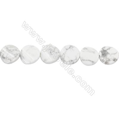 White Howlite Beads Strand  Twisted Flat Round Diameter 16mm  hole 1mm  about 24 beads/strand 15~16''